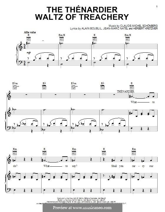 The Thenardier Waltz of Treachery: Für Stimme und Klavier (oder Gitarre) by Claude-Michel Schönberg