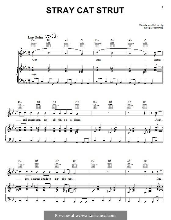 Stray Cat Strut (Stray Cats): Für Stimme und Klavier (oder Gitarre) by Brian Setzer