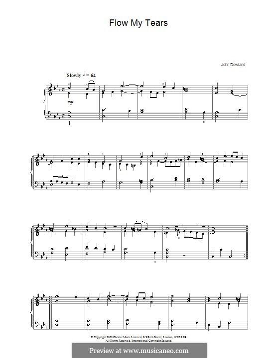 Flow My Tears (Lachrimae Antiquae): Für Klavier by John Dowland