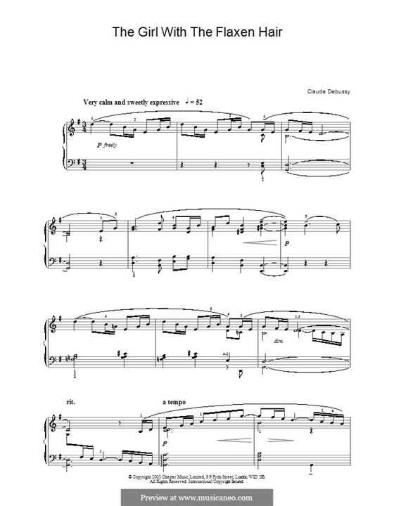 Nr.8 Das Mädchen mit dem flachsfarbenen Haar: Für Klavier (Noten von hoher Qualität) by Claude Debussy