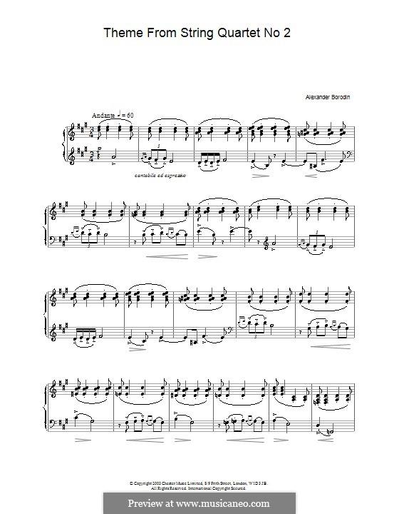 Streichquartett Nr.2 In D-Dur: Teil III (Thema). Version für Klavier by Alexander Porfiryevich Borodin