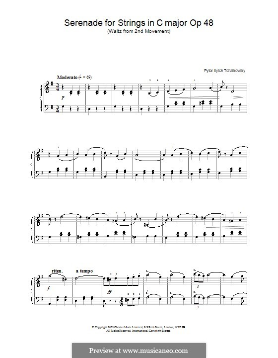 Serenade für Streichorchester, TH 48 Op.48: Teil II (Walzer), für Klavier (mit Fingersatz) by Pjotr Tschaikowski
