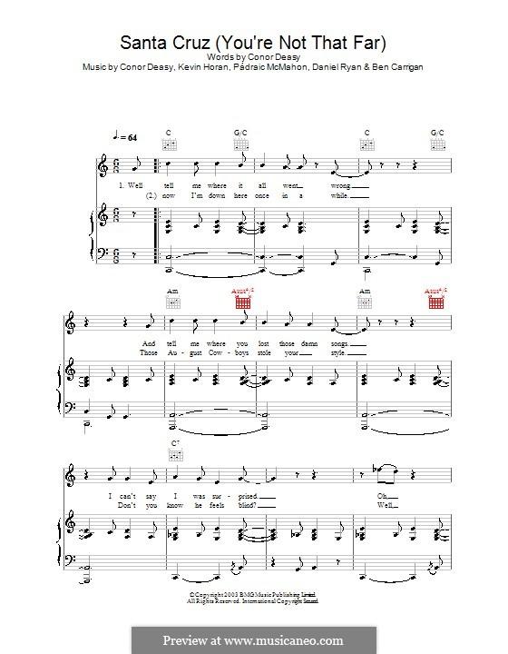 Santa Cruz (You're Not That Far): Für Stimme mit Klavier oder Gitarre (The Thrills) by Ben Carrigan, Conor Deasy, Daniel Ryan, Kevin Horan, Pádraic McMahon