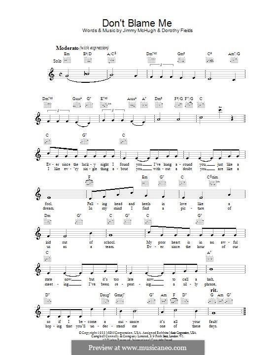 Don't Blame Me: Melodie, Text und Akkorde by Jimmy McHugh