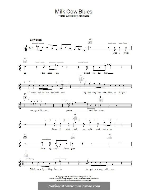 Milk Cow Blues: Melodie, Text und Akkorde by John Estes