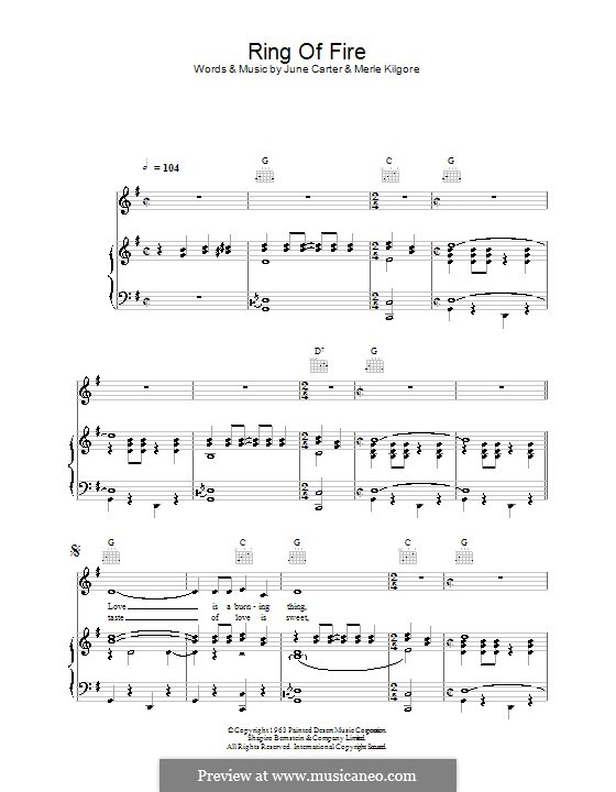 Ring of Fire: Für Stimme und Klavier (oder Gitarre) by June Carter, Merle Kilgore