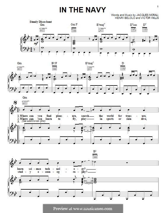 In the Navy (The Village People): Für Stimme und Klavier (oder Gitarre) by Henri Belolo, Jacques Morali, Victor Willis