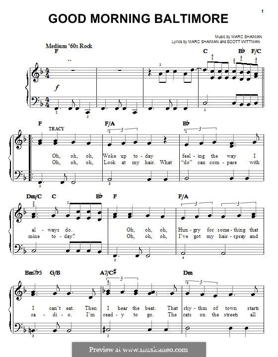 Good Morning Baltimore (from Hairspray): Einfache Noten für Klavier by Marc Shaiman