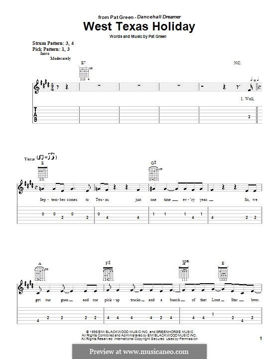West Texas Holiday: Für Gitarre (Sehr leichte Fassung) by Pat Green