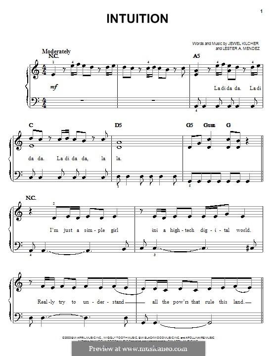 Intuition (Jewel): Für Klavier, leicht by Jewel Kilcher, Lester A. Mendez