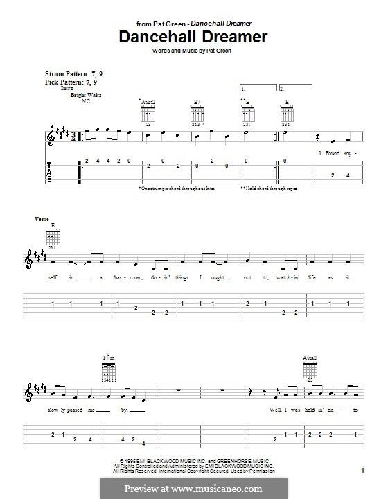 Dancehall Dreamer: Für Gitarre (Sehr leichte Fassung) by Pat Green