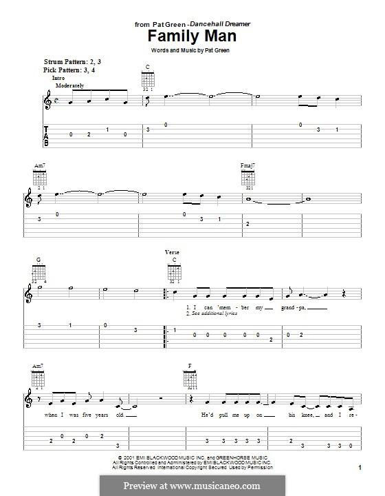 Family Man: Für Gitarre (Sehr leichte Fassung) by Pat Green