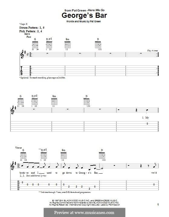 George's Bar: Für Gitarre (Sehr leichte Fassung) by Pat Green