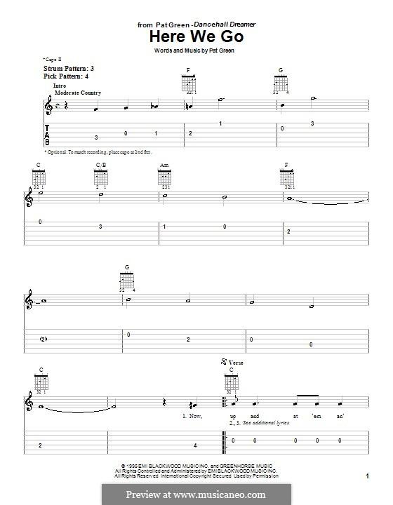 Here We Go: Für Gitarre (Sehr leichte Fassung) by Pat Green
