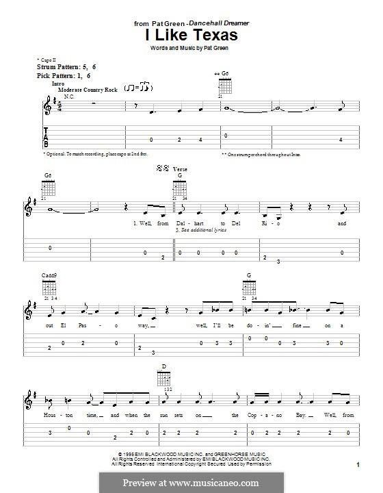 I Like Texas: Für Gitarre (Sehr leichte Fassung) by Pat Green