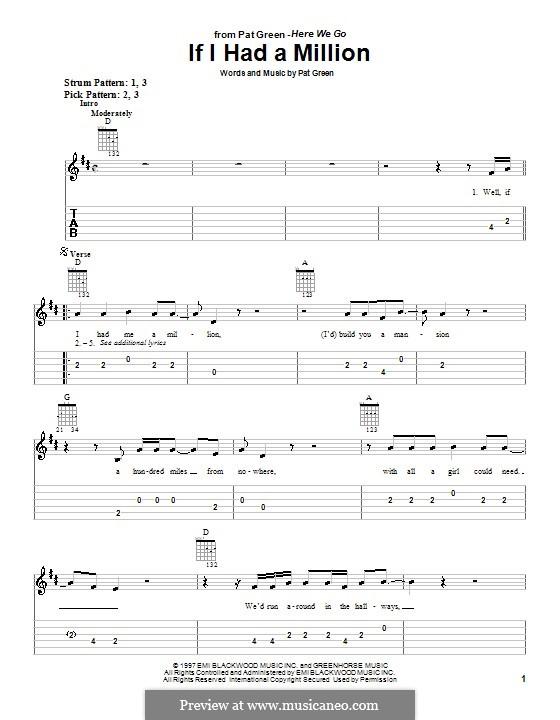 If I Had a Million: Für Gitarre (Sehr leichte Fassung) by Pat Green