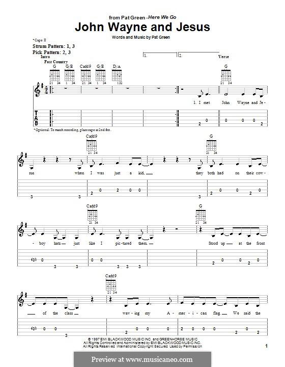 John Wayne and Jesus: Für Gitarre (Sehr leichte Fassung) by Pat Green