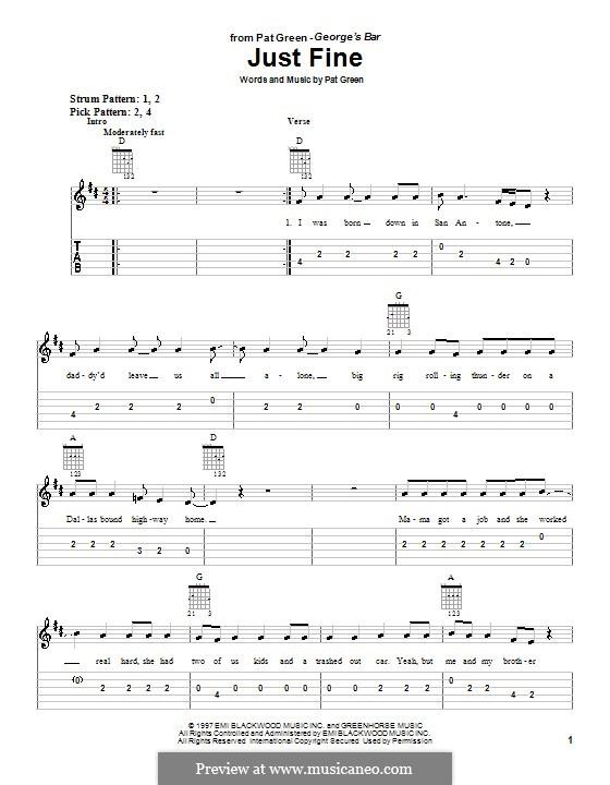Just Fine: Für Gitarre (Sehr leichte Fassung) by Pat Green