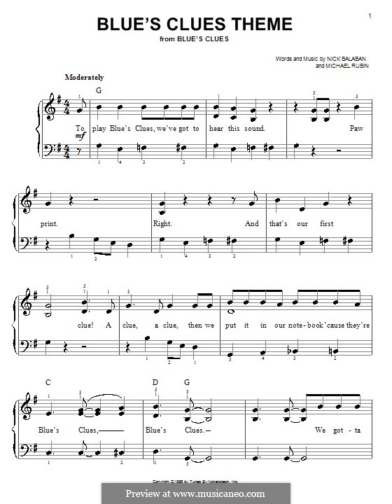 Blue's Clues Theme: Einfache Noten für Klavier by Michael Rubin
