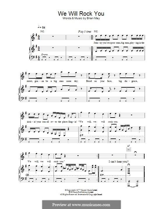 We Will Rock You (Queen): Für Stimme und Klavier (oder Gitarre) by Brian May