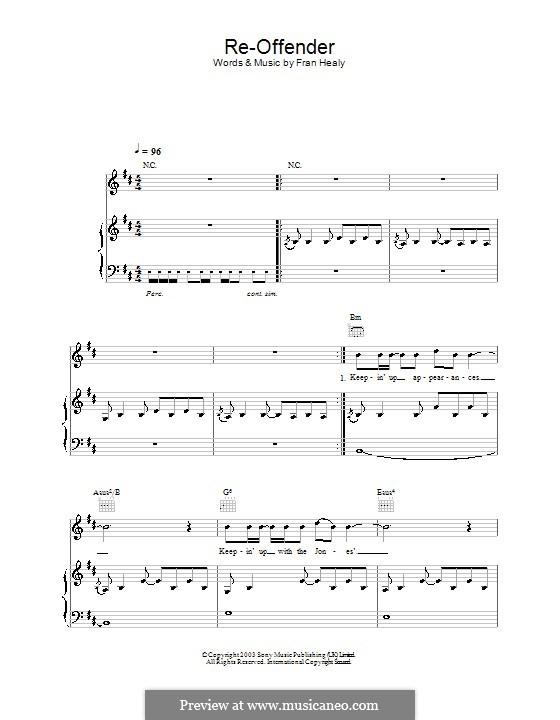 Re-Offender (Travis): Für Stimme und Klavier (oder Gitarre) by Fran Healy