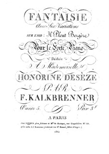 Fantasie und Variationen über Arie 'Il Pleut Bergère', Op.5: Fantasie und Variationen über Arie 'Il Pleut Bergère' by Friedrich Kalkbrenner