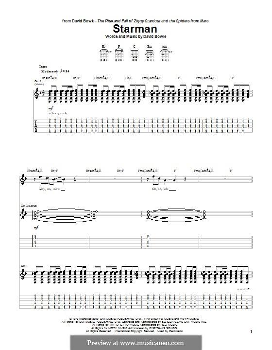 Starman: Für Gitarre mit Tabulatur by David Bowie