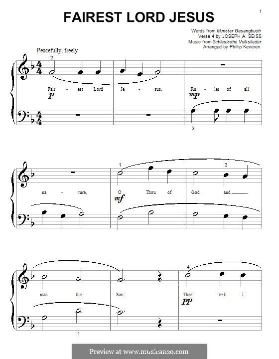 Fairest Lord Jesus: Für Klavier (F-Dur) by folklore