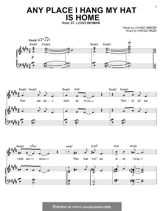 Any Place I Hang My Hat Is Home: Für Stimme und Klavier (oder Gitarre) by Harold Arlen