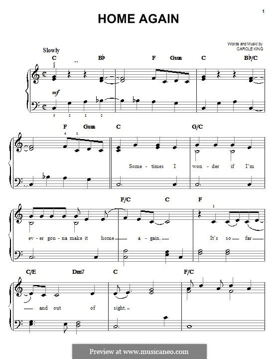 Home Again: Einfache Noten für Klavier by Carole King