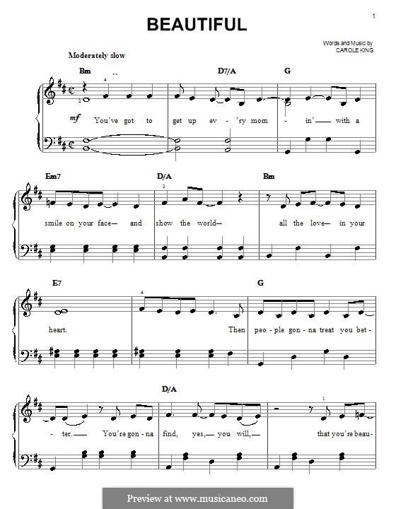 Beautiful: Einfache Noten für Klavier by Carole King