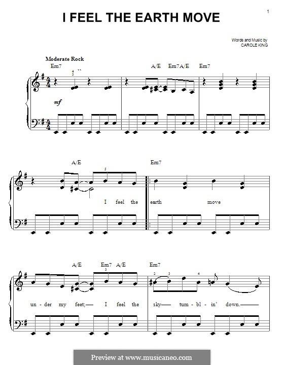 I Feel the Earth Move: Einfache Noten für Klavier by Carole King