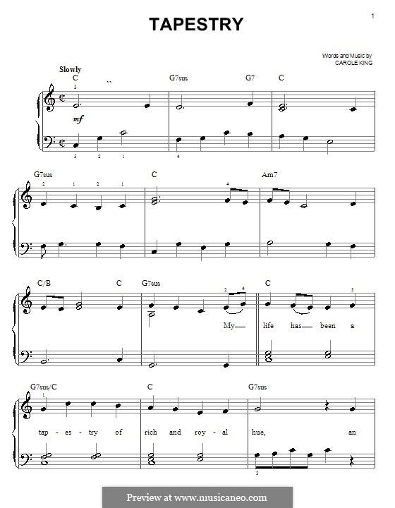 Tapestry: Einfache Noten für Klavier by Carole King
