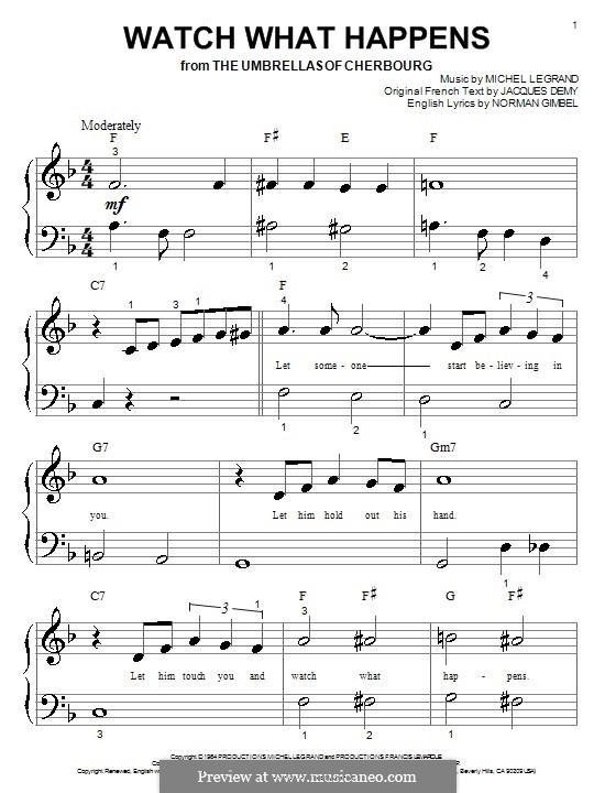 Watch What Happens: Für Klavier (sehr leichte Fassung) by Michel Legrand