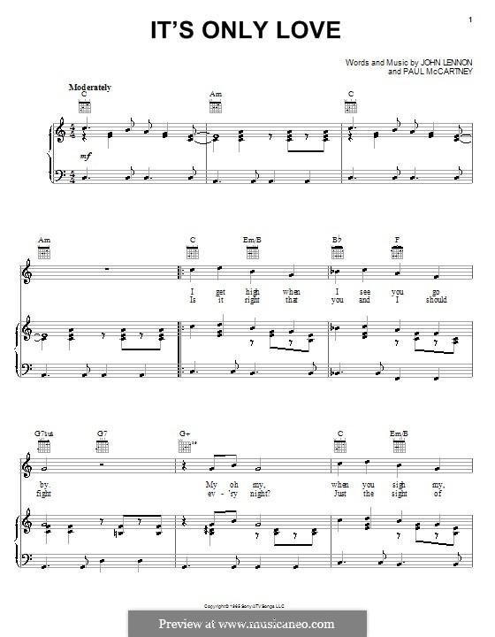 It's Only Love (The Beatles): Für Stimme und Klavier (oder Gitarre) by John Lennon, Paul McCartney