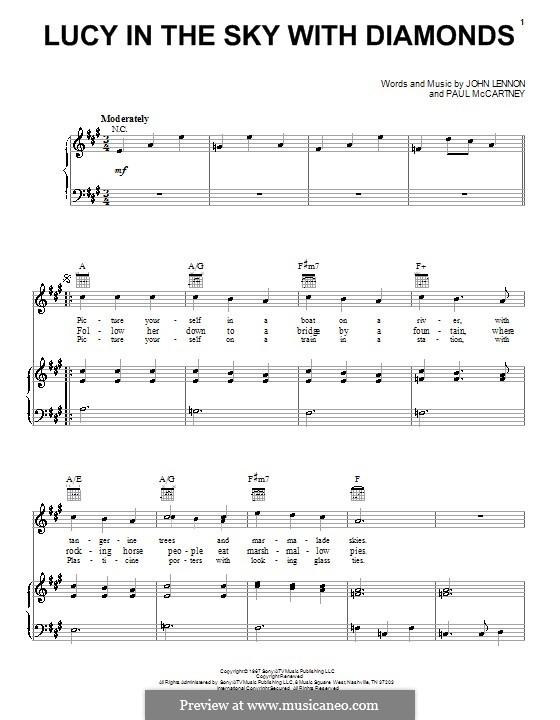 Lucy in the Sky with Diamonds (The Beatles): Für Stimme und Klavier (oder Gitarre) by John Lennon, Paul McCartney