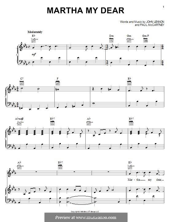 Martha My Dear (The Beatles): Für Stimme und Klavier (oder Gitarre) by John Lennon, Paul McCartney