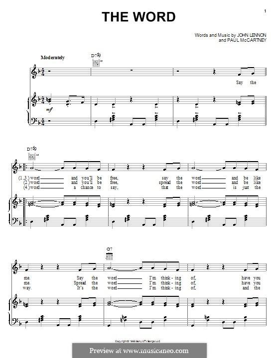 The Word (The Beatles): Für Stimme und Klavier (oder Gitarre) by John Lennon, Paul McCartney