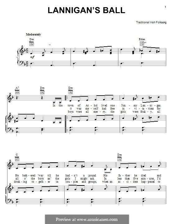 Lanigan's Ball: Für Stimme und Klavier (oder Gitarre) by folklore
