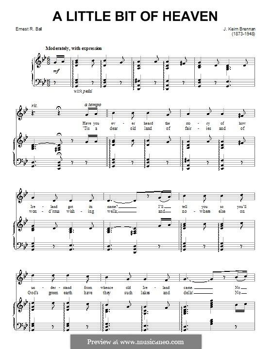 A Little Bit of Heaven: Für Stimme und Klavier (oder Gitarre) by Ernest R. Ball