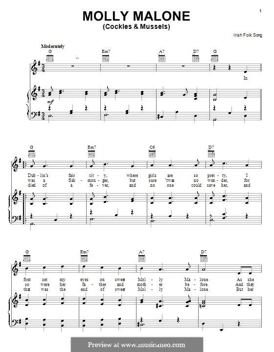 Molly Malone: Für Stimme und Klavier (oder Gitarre) by folklore