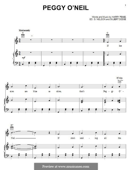 Peggy O'Neil (Harry Pease): Für Stimme und Klavier (oder Gitarre) by Ed G. Nelson, Gilbert Dodge
