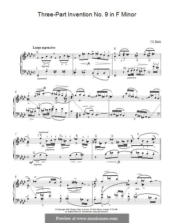 Nr.9 in f-Moll, BWV 795: Für Klavier by Johann Sebastian Bach