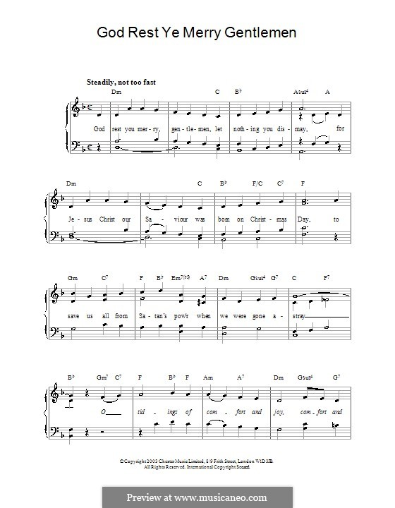 God Rest You Merry, Gentlemen, for Piano: Easy version by folklore