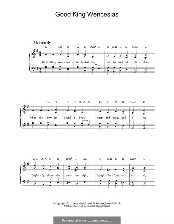 Good King Wenceslas: Für Klavier, leicht by folklore