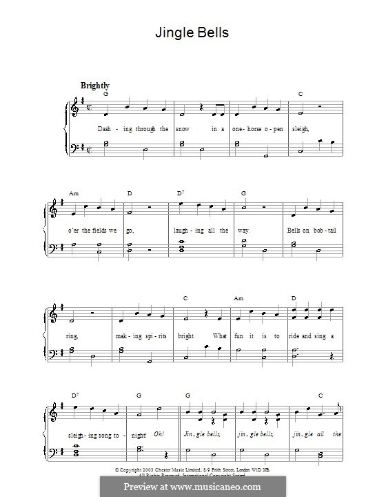 Jingle Bells, für Klavier: Version für leichtes Klavier by James Lord Pierpont