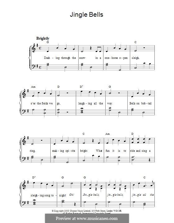 Jingle Bells, for Piano: Version für leichtes Klavier by James Lord Pierpont