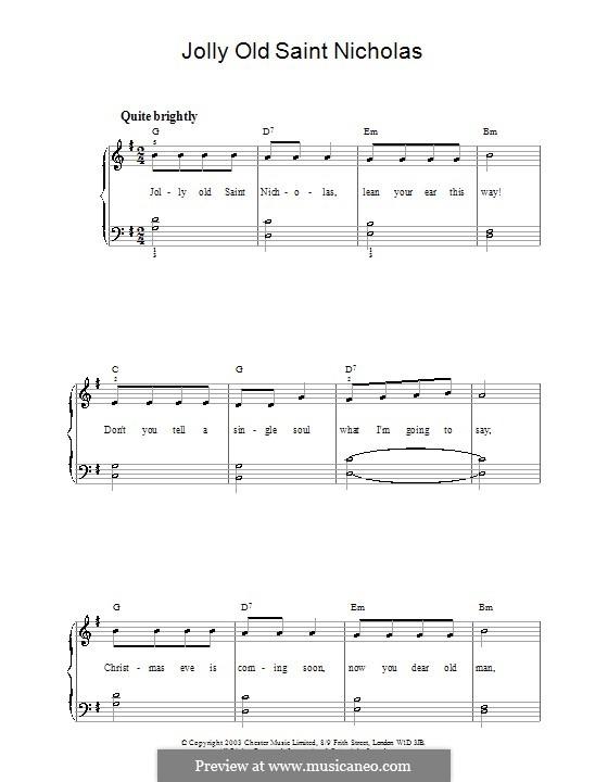 Jolly Old St. Nicholas: Für Klavier, leicht by folklore