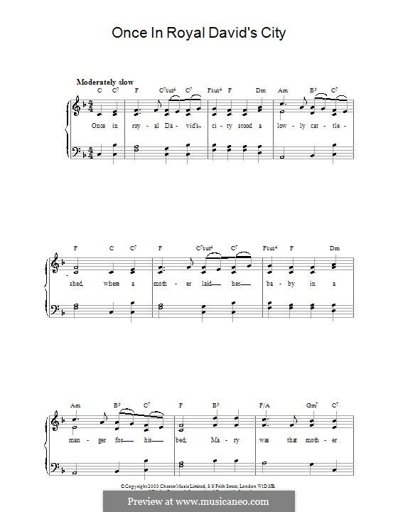 Einst in der königlichen Stadt David: Für Klavier (F-Dur) by Henry John Gauntlett