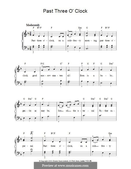 Past Three O'Clock: Einfache Noten für Klavier by George Ratcliffe Woodward
